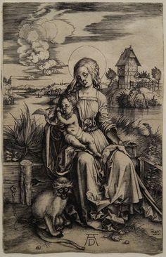 Albrecht Dürer Madonna with the Monkey (c. 1498) Engraving