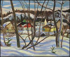"""Quebec Village in Winter,"" Alexander Young (A.) Jackson, oil on canvas, 16 x 20 private collection. Canadian Painters, Canadian Artists, Winter Painting, Winter Art, Landscape Art, Landscape Paintings, Group Of Seven Paintings, Roi George, Tom Thomson Paintings"