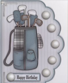 """- This is the perfect companion to my """"Greatest Golfer"""" scalloped edge card. Fantastic card for the golf enthusiast! Golf Birthday Cards, Happy Birthday Messages, Handmade Birthday Cards, Masculine Birthday Cards, Masculine Cards, Golf Cards, Fathers Day Cards, Copics, Watercolor Cards"""