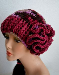 READY TO SHIP. Valentine's Crochet Flower Hat. by Africancrab, $18.00