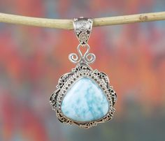 Charms – Larimar Pendant, 925 Silver Pendant, Dolphin Stone – a unique product by Midas-Jewelry on DaWanda