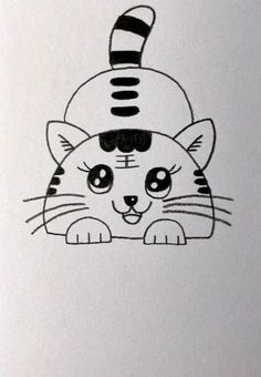 Cute Little Drawings, Cute Easy Drawings, Art Drawings Beautiful, Art Drawings For Kids, Drawing Ideas Kids, Cute Cat Drawing Easy, Drawing Videos For Kids, Easy Doodles Drawings, Easy Doodle Art