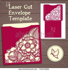 Wedding invitation or greeting card with abstract ornament. Vector envelope template for laser cutting. Paper cut card with silhouette.