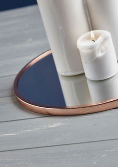 Large Mirrored Candle Plate With Copper Trim