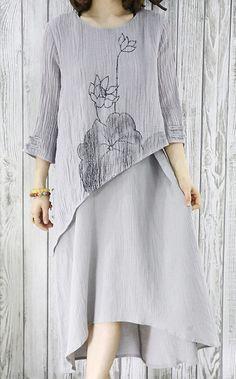 Gray layered linen sundress plus size maxi summer dresses half sleeve linen