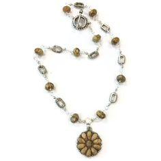 Tan Necklace Silver Jewelry Jasper Jewellery by jewelrybycarmal, $25.00