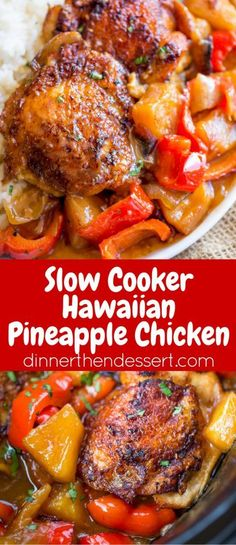 Slow Cooker Hawaiian Pineapple Chicken with crispy chicken thighs, fresh pineapple chunks, onions and bell pepper takes 15 minutes of prep and makes the perfect meal to come home to after a long workday!