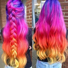 WEBSTA @ allydestouttt - 💖NEON SUNSET.. BRAIDED OR CURLED???💖 Throwback to one of my most fav color combos! She is getting her hair done this weekend... What colors should we do this time?? #modernsalon #behindthechair  #americansalon #imallaboutdahair #mermaidians #love #authentichairarmy #hairstyles #hairstylist #ohiostylist #vivid #mermaidhair #rainbowhair #boldhair #brighthair #hairgoals #hairporn #transformation  #updo #lovemyjob #lovemyclients #manicpanic #1minutehair #hotonbeauty…