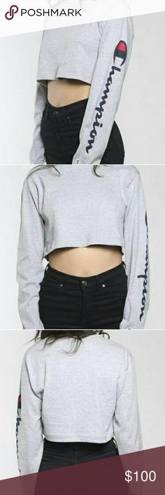 90s VINTAGE CROPPED CHAMPION TEE- GREY Color is grey. *I also have the black version available in another listing!*  This is a vintage item, price is 100% NEGOTIABLE but no low-balling please!  Bundle with other cute items from my closet or make an offer! :) Champion Tops