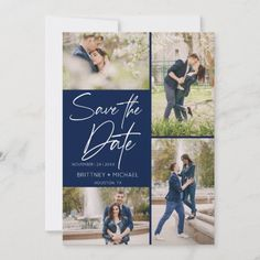 Modern Photo Collage Navy Blue Save The Date Blue Save The Dates, Save The Date Photos, Save The Date Cards, Image Collage, Simple Photo, Good Cheer, Simple Weddings, Personal Photo, Photo Cards