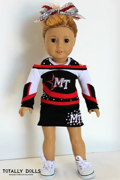 Pink /& Navy Cheerleading Outfit /& Accessories to fit 18 inch soft bodied dolls