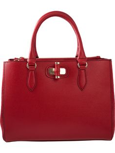 Becatò red handbag made with genuine leather and golden details