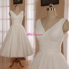Romantic Chiffon 1950s tea length wedding dress, beach wedding dress, chiffon 50's style wedding dress,rockabilly wedding dress