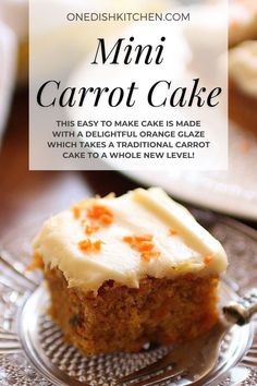 A mini carrot cake topped with a rich cream cheese frosting. Everything you love about a carrot cake but in a smaller size. This easy to make cake is made with a delightful orange glaze which takes a traditional carrot cake to a whole new level. Bakes in just 30 minutes! Carrot Cake Topping, Mini Carrot Cake, Easy Carrot Cake, Cake For One Recipe, Mini Carrots, Slushie Recipe, Bundt Cake Pan, Single Serving Recipes, Cake Sizes