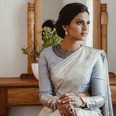 Bridal Saree Blouse White Sari New Ideas Christian Wedding Sarees, Christian Bride, Saree Wedding, Bridal Sarees, Wedding Bride, Wedding Ideas, White Blouse Designs, Sari Blouse Designs, White Sari