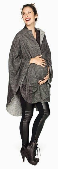 Wool Cape with belt Spandex/Faux Leather Leggings