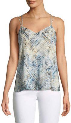 f424b77238c496 FRAME Designer V-Neck Cheetah-Print Silk Cami Top | Avivey (Style ...