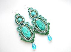 Items similar to Soutache earrings with turkmenit and crystals on Etsy