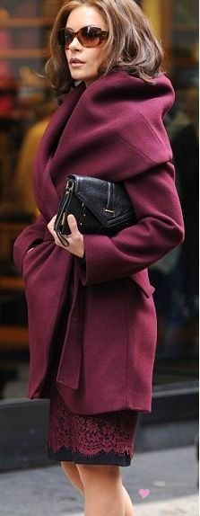 Shawl collar coat in wine with a gorgeous black and wine dress peeking out from under it, plus black handbag = perfection!