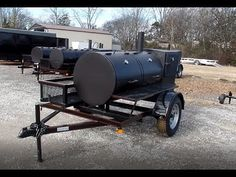 Pull behind smoker trailer is great for holidays and catering. The air flow is designed to reach the meat evenly and the temperature gauges allow you to keep track of cooking. It has a warming box for keeping food warm while grilling. Wood cage for haulin Camping Club, Best Camping Meals, Camping Near Me, Camping World, Camping Gear, Bbq Smoker Trailer, Bbq Pit Smoker, Bbq Grill, Grilling