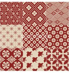 Vintage japanese traditional pattern vector 1677450 - by paul june on VectorStock Japanese Textiles, Japanese Fabric, Japanese Prints, Japanese Art, Boho Pattern, Pattern Art, Vintage Pattern Design, Batik Pattern, Design Japonais