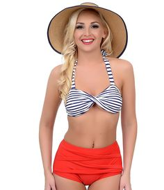 Vintage Style Pin Up Navy & White Stripe & Red Two Piece High Waisted Halter Swimsuit