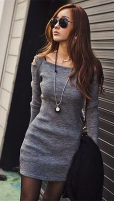 c16fa50424 Stylish Square Neck Shoulder Hollow Out Solid Color Long Sleeve Slimming  Ribbed Cotton Dress For Women Deep Gray Black