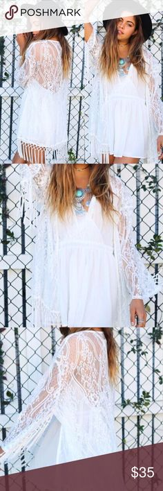 Sheer Boho White Cardigan Kimono Coverup Fringe NEWLY ADDED! Boho babe with vintage vibe! Light and sheer lacy sheer white floral cardigan with amazing fringe trim! Open front. Perfect summer cardigan or beach coverup! Boutique - brand new! Polyester, soft and light. Also available in black!  Measurements: Small/Medium (US 2/4/6): 70cm/27.56'' length, 61cm/24.02'' sleeve  Large/X-Large(US 6/8/10): 72cm/28.35'' length, 63cm/24.8'' sleeve  No trades/holds. Boutique Sweaters Cardigans