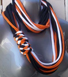 T-Shirt Necklace/Scarf & Bracelets- Orange and Black:
