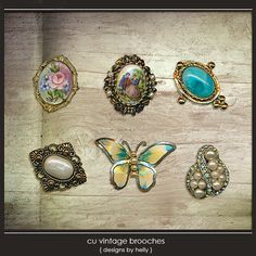CU Vintage Brooches :: COMMERCIAL USE :: Memory Scraps