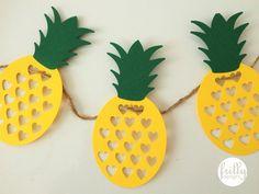Girlande aus Papier mit Ananas Schnitt. Nicht geeignet als Spielzeug für Kinder unter drei Jahren. Band  inbegriffen. Nicht für den Außenbereich geeignet.   1 Girlande pro Packung. (9 Ananas auf...