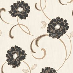 Fine Decor Florentina Wallpaper in Cream, Black and Gold. Fourth Wall, All Flowers, Designer Wallpaper, Pattern Wallpaper, Black Gold, Washer Necklace, Whimsical, Ivory, Colours