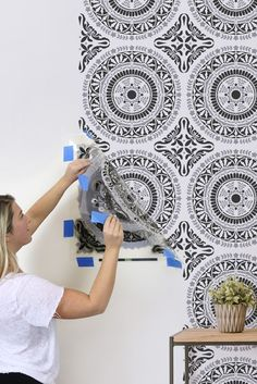 How To Stencil A Pretty Accent Wall For Under $50 | DIY Decorating on a Budget | Segovia Tile Wall Stencil #stencils #diy #diyproject #decorate #homedecor#homedecorideas #homestyle