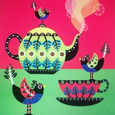 #print #pattern #teapot #pink #teacup #bird #hot by @illustrator_eye