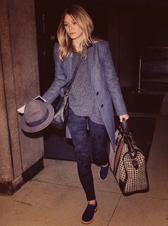 A great combination of textures and tones of blue. I particularly like her coat and hat. She is the youngest (and for my money the most interesting) of the three olsen sisters. A stellar actress.