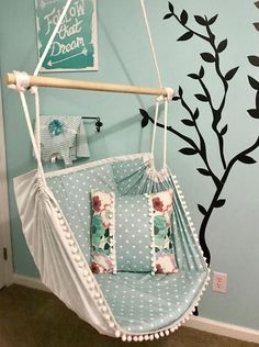 Hammock Chair Single Sided Design Reading ChairSensory - Another! Kids Hammock, Hammock Swing Chair, Swinging Chair, Bedroom Hammock, Kids Room Furniture, Cool Chairs, Living Room Chairs, Dining Chairs, Dining Room