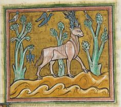 Animal detail from medieval illuminated manuscript  - British Library Royal MS 12 F XIII - c 1230-14th century - f25r