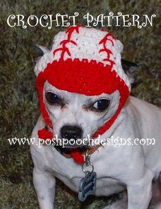Crochet Pattern  Baseball Dog Hat Dog Beanie by poshpoochdesigns, $3.99
