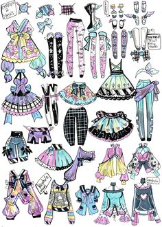 Custom Mix and Match outfits 12 by Guppie-Vibes on DeviantArt Clothing Sketches, Dress Sketches, Art Drawings Sketches, Kawaii Drawings, Cute Drawings, Drawing Anime Clothes, Manga Clothes, Fashion Design Drawings, Fashion Sketches