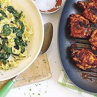 Another tasty chicken thigh recipe. I love using the egg noodles and spinach side, really easy and tasty!