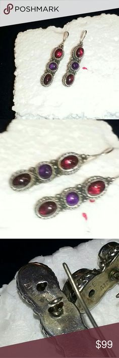 Vintage Mexican Amethyst & Garnet sterling earring Beautiful natural semiprecious stones set in .925 sterling silver. In excellent vintage condition. Some patina,  NOT shiny new looking. Vintage Jewelry Earrings