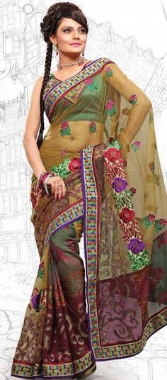 $61.74 Red and Mahendi Green Brasso and Net Latest Fashion Saree 16705 With Unstitched Blouse