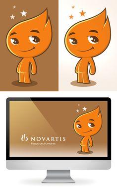 Client : Novartis / Création d'une mascotte / Graphiste freelance, illustrateur, webdesigner