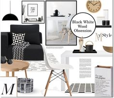 """Interior whislist 106: Black White Wood Obsession"" by anna-anica on Polyvore"
