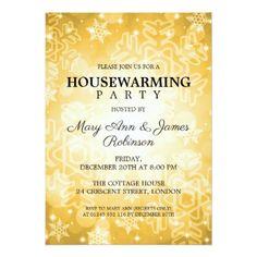 Elegant Housewarming Party Gold Winter Bokeh Card