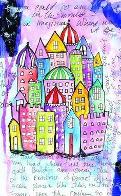 Alisa Burke — sketchbook city 8x10 matted print