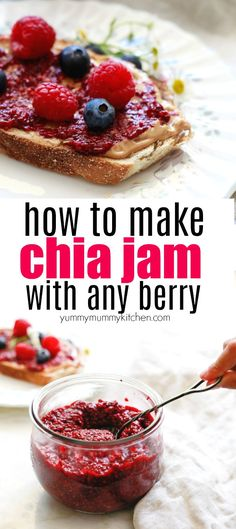 An easy chia jam recipe that works with any berry. Find out how to make healthy raspberry, blueberry, or strawberry chia jam with no added sugar. This easy refrigerator chia jam recipe is delicious on toast, pancakes, and vegan breakfast bowls. It's naturally vegan and gluten free.