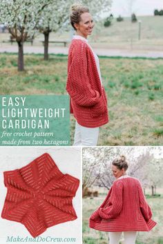 Two simple crochet hexagons transform into a lightweight, on-trend cardigan complete with cozy pockets and roomy bishop sleeves. This free, easy crochet sweater pattern and tutorial makes a great first garment for beginners and is perfect to wear in the spring or summer. Includes plus sizes and with Lion Brand Vanna's Style yarn.  #makeanddocrew #cardigan #freepattern #sweater #easy #beginner #tutorial #pattern #free #hexagon #modern #stylish #women #plussize #lionbrandyarn