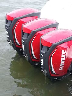 The new Evinrude E-TEC G2 engines on test day.