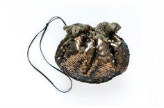 BRONZE Sequin Drawstring Pouch. Gold Holiday by GiftShopBrooklyn, $88.00